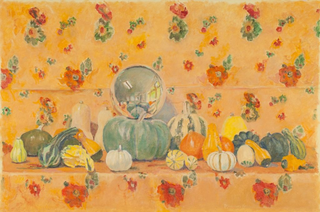 David Summers' Super Happy Autumn Still Life with Gazing Ball