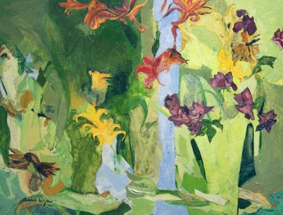 Ann Lyne Sparrow Among Lilies